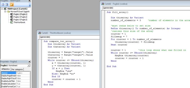 Esempi di macro per creare, copiare, confrontare Array