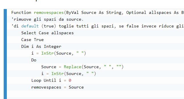 Funzioni Slice e Removespaces
