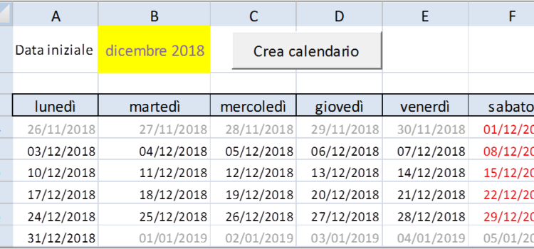 Come creare un calendarietto in Excel