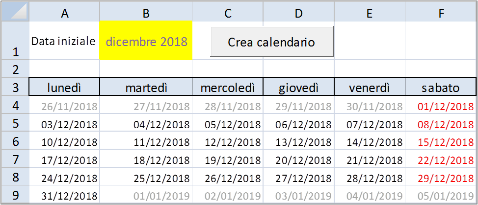 Inserire Data Excel Da Calendario.Come Creare Un Calendarietto In Excel Forum Excel Vba